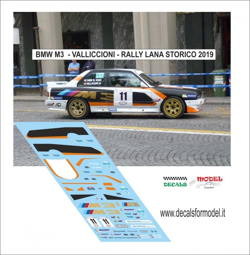 DECALS 1//43 BMW M3 VALLICCIONI RALLY LANA STORICO 2019