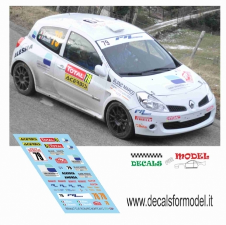 DECAL RENAULT CLIO R3 - BLANC - RALLY MONTECARLO 2013