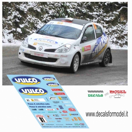 DECAL RENAULT CLIO R3 - CAILLET - RALLY MONTECARLO 2013