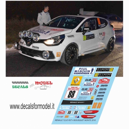 DECAL RENAULT CLIO R3T 4� SERIE - BOSQUET - RALLY MONTECARLO 2016