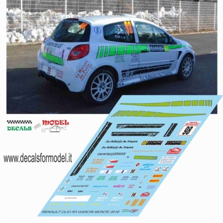 DECAL RENAULT CLIO R3 - GARGIN - RALLY MONTECARLO 2016