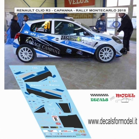 DECAL RENAULT CLIO R3 - CAPANNA - RALLY MONTECARLO 2018