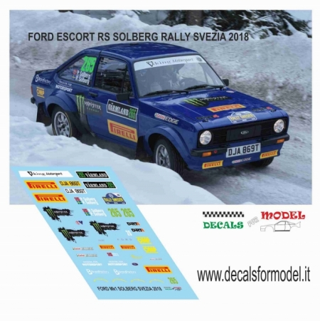 DECAL FORD ESCORT RS 1800 MK - SOLBERG - RALLY SVEZIA 2018