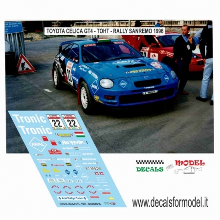 DECAL TOYOTA CELICA GT4 - TOHT - RALLY SANREMO 1996