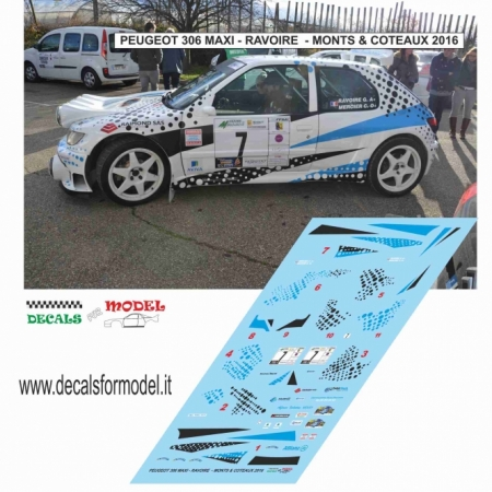 DECAL PEUGEOT 306 MAXI - RAVOIRE - RALLY MONTS & COTEAUX 2016