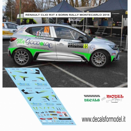 DECAL RENAULT CLIO R3T - SORIN - RALLY MONTECARLO 2016