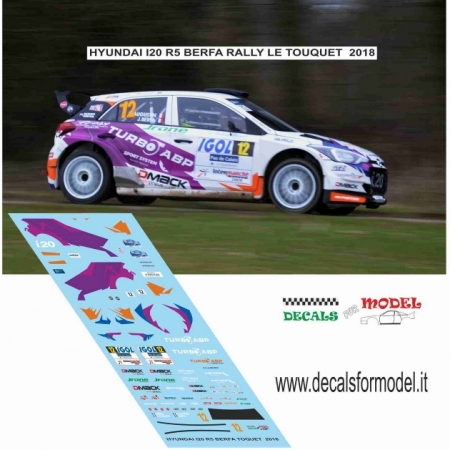 DECAL HYUNDAI I20 R5 - BERFA - RALLY LE TOUQUET 2018