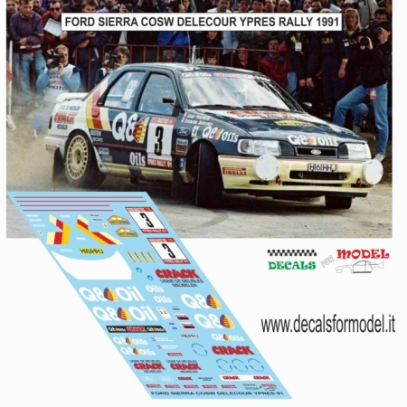 DECAL FORD SIERRA COSW - DELECOUR - RALLY YPRES 1991