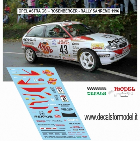DECAL OPEL ASTRA GSI - ROSENBERGER - RALLY SANREMO 1996