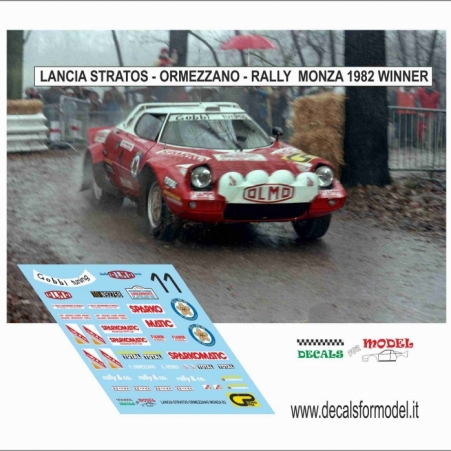 DECAL LANCIA STRATOS - ORMEZZANO - RALLY MONZA 1982 - WINNER
