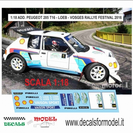DECAL AGGIUNTIVO PEUGEOT 205 T16 - LOEB - VOSGES RALLY FESTIVAL 2016