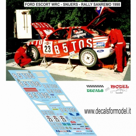 DECAL FORD ESCORT WRC BASTOS - SNIJERS - RALLY SANREMO 1998