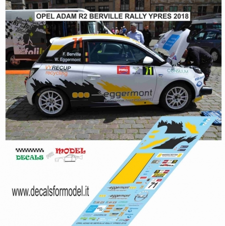 DECAL OPEL ADAM R2 - BERVILLE - RALLY YPRES 2018