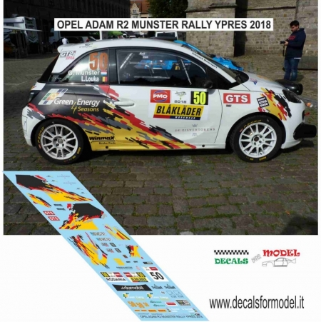 DECAL OPEL ADAM R2 - MUNSTER - RALLY YPRES 2018