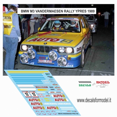 DECAL BMW M3 - VANDERMAESEN - RALLY YPRES 1989