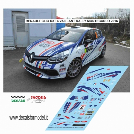 DECAL RENAULT CLIO R3T - VAILLANT - RALLY MONTECARLO 2016