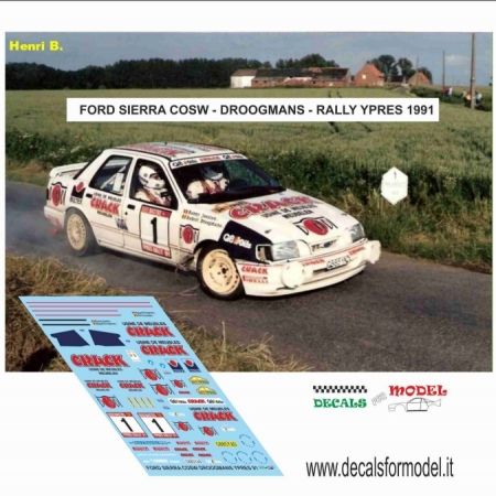 DECAL FORD SIERRA COSW - DROOGMANS - RALLY YPRES 1991