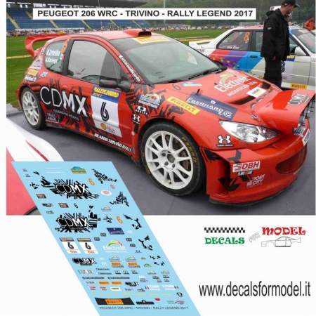 DECAL PEUGEOT 206 WRC - TRIVINO - RALLY LEGEND 2017