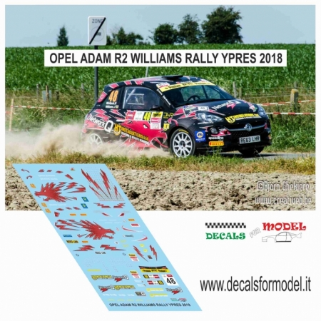 DECAL OPEL ADAM R2 - WILLIAMS - RALLY YPRES 2018