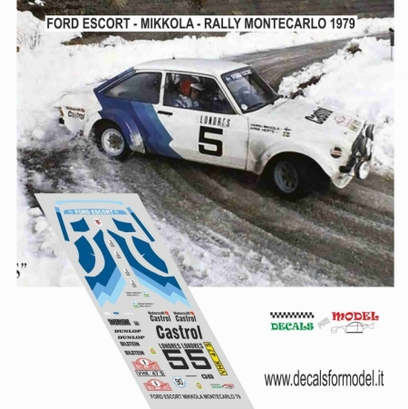 DECAL FORD ESCORT RS MK - MIKKOLA - RALLY MONTECARLO 1979