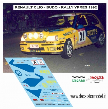 DECAL RENAULT CLIO - BUDO - RALLY YPRES 1992