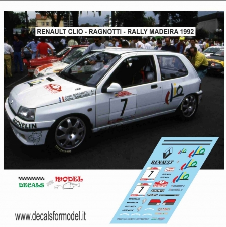 DECAL RENAULT CLIO - RAGNOTTI - RALLY MADEIRA 1992