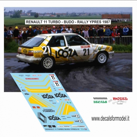 DECAL RENAULT 11 TURBO - BUDO - RALLY YPRES 1987