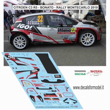 DECAL CITROEN C3 R5 - BONATO - RALLY MONTECARLO 2019