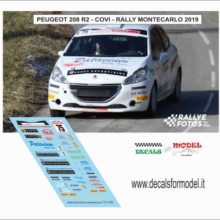 DECAL PEUGEOT 208 R2 - COVI - RALLY MONTECARLO 2019