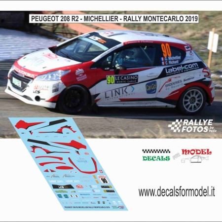 DECAL PEUGEOT 208 R2 - MICHELLIER - RALLY MONTECARLO 2019