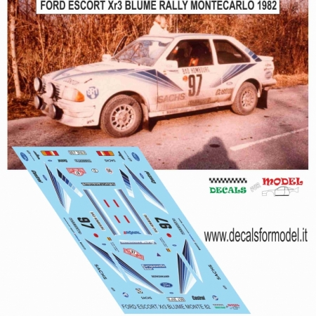 DECAL FORD ESCORT XR3 - BRUME - RALLY MONTECARLO 1982