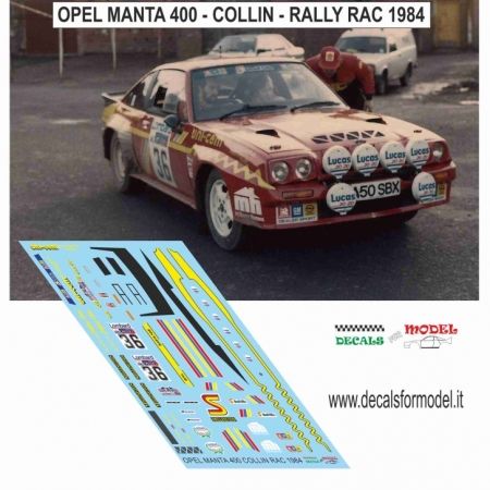 DECAL OPEL MANTA 400 - COLLINS - RALLY RAC 1984
