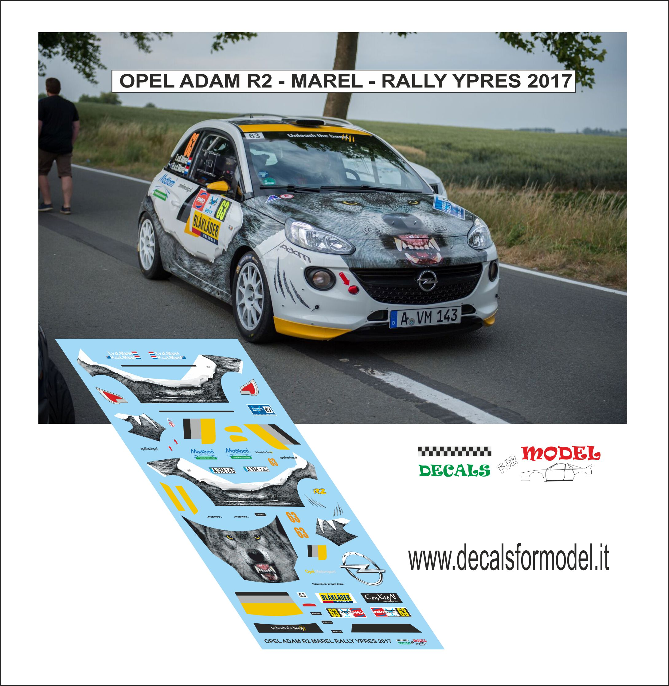 DECAL OPEL ADAM R2 - MAREL - RALLY YPRES 2017