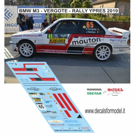DECAL BMW M3 - VERGOTE - RALLY YPRES 2019