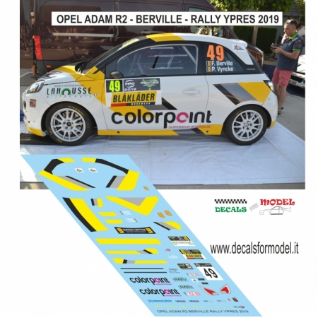 DECAL OPEL ADAM R2 - BERVILLE - RALLY YPRES 2019