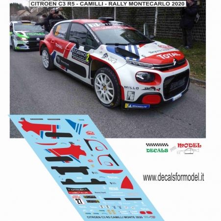 DECAL CITROEN C3 R5 - CAMILLI - RALLY MONTECARLO 2020