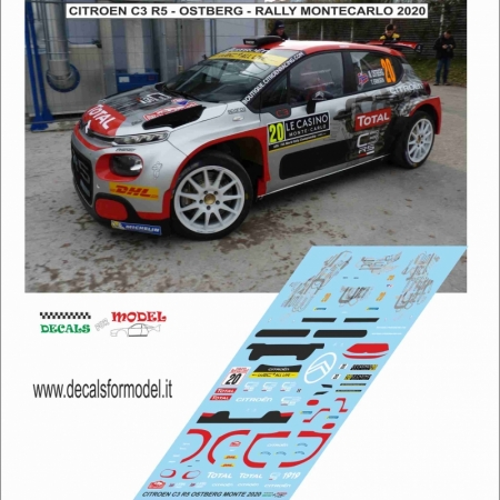 DECAL CITROEN C3 R5 - OSTBERG - RALLY MONTECARLO 2020