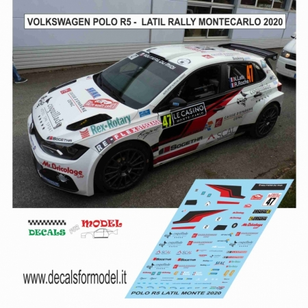 DECAL VOLKSWAGEN POLO R5 - LATIL - RALLY MONTECARLO 2020