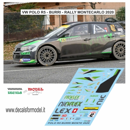 DECAL VOLKSWAGEN POLO R5 - BURRI - RALLY MONTECARLO 2020