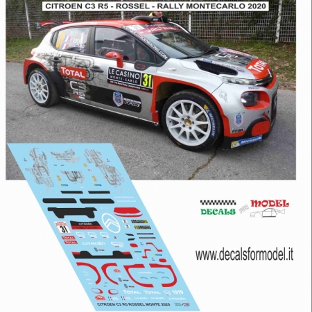 DECAL CITROEN C3 R5 - ROSSEL - RALLY MONTECARLO 2020