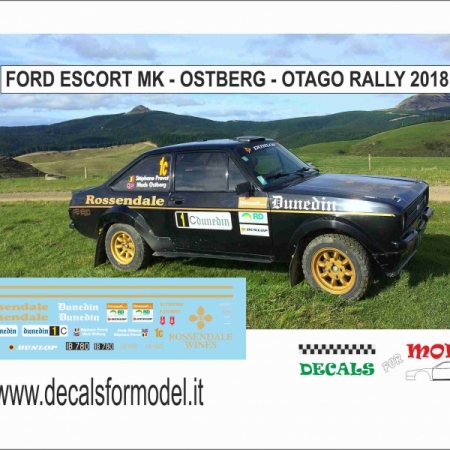 DECAL FORD ESCORT RS MK - OSTBERG - OTAGO RALLY 2018