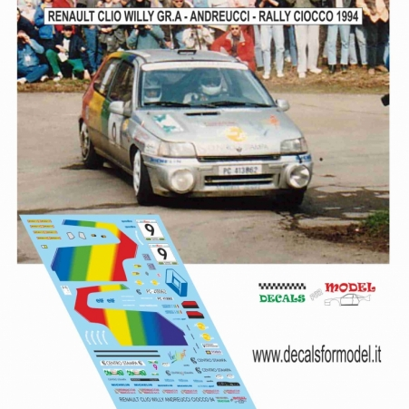 DECALS RENAULT CLIO WILLY - ANDREUCCI - RALLY CIOCCO 1994