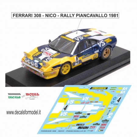 DECAL FERRARI 308 GTB - NICO - RALLY PIANCAVALLO 1981