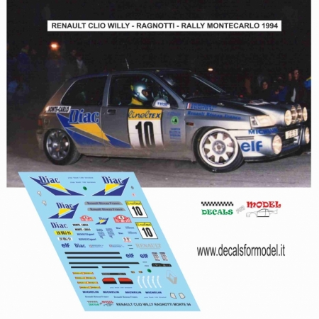 DECAL RENAULT CLIO WILLY - RAGNOTTI - RALLY MONTECARLO 1994
