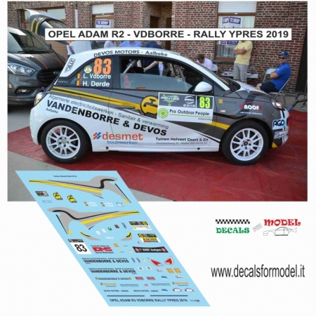 DECAL OPEL ADAM R2 - VDBORRE - RALLY YPRES 2019
