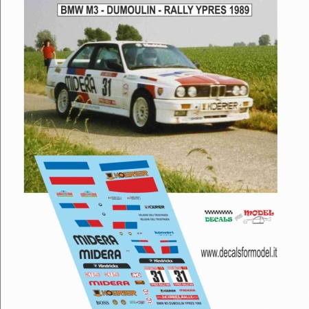 DECAL BMW M3 - DUMOULIN - RALLY YPRES 1989