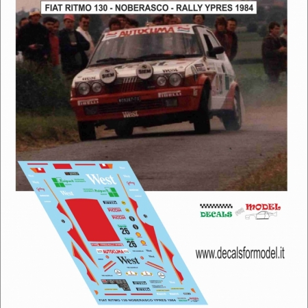 DECAL FIAT RITMO 130 - WEST - NOBERASCO - RALLY YPRES 1984