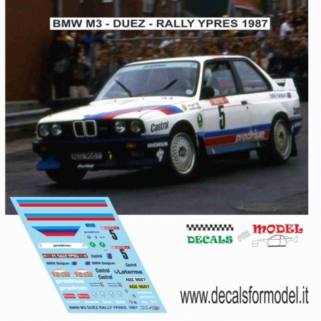 DECAL BMW M3 - DUEZ - RALLY YPRES 1987