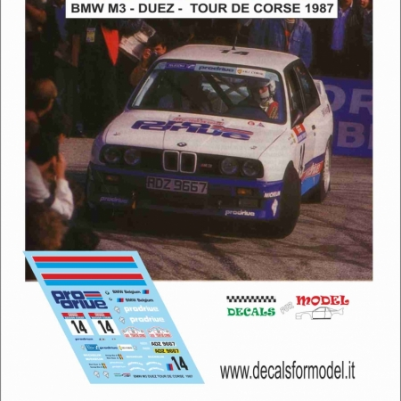 DECAL BMW M3 - DUEZ - TOUR DE CORSE 1987
