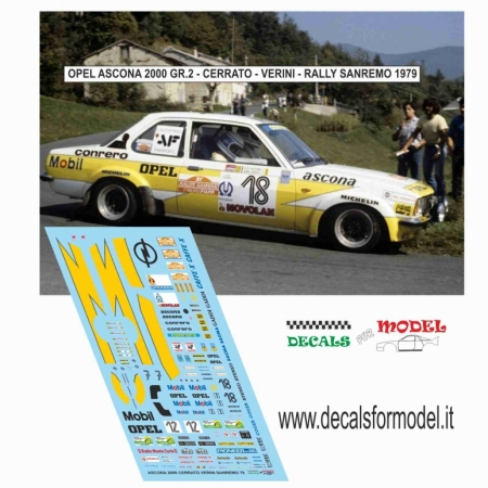 DECALS OPEL ASCONA 2000 GR. 2 - CERRATO / VERINI - RALLY SANREMO 1979